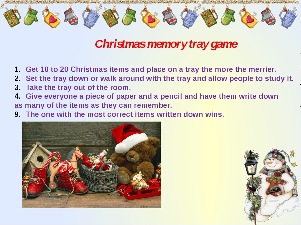 Christmas memory tray game Get 10 to 20 Christmas items and place on a tray t...