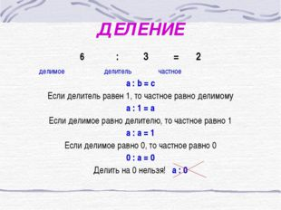 ДЕЛЕНИЕ : 3 = 2 делимое делитель частное a : b = c Если делитель равен 1, то