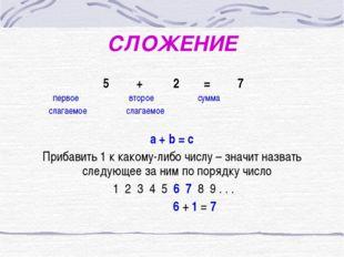 СЛОЖЕНИЕ 5 + 2 = 7 первое второе сумма слагаемое слагаемое a + b = c Прибавит