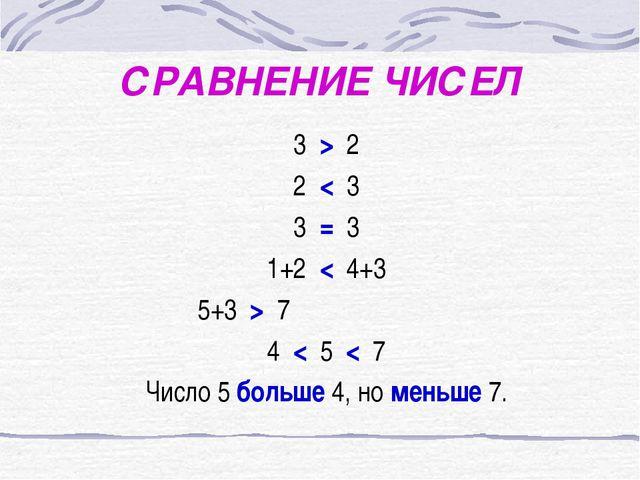 СРАВНЕНИЕ ЧИСЕЛ 3 > 2 2 < 3 3 = 3 1+2 < 4+3 5+3 > 7 4 < 5 < 7 Число 5 больше...