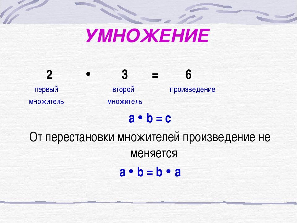 УМНОЖЕНИЕ 2  3 = 6 первый второй произведение множитель множитель a  b = c...