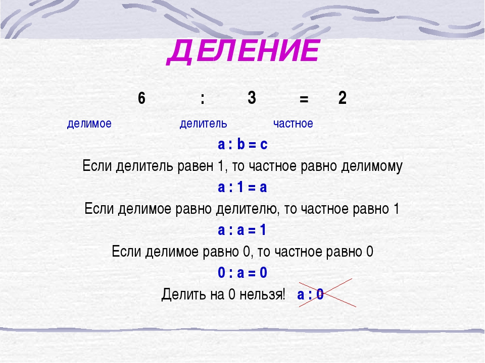 ДЕЛЕНИЕ : 3 = 2 делимое делитель частное a : b = c Если делитель равен 1, то...