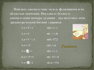 Гигиена 1. у = 2x + 1а)[2; + ) 2. у = 3xи)(– ; 0) 3. у = 7x – 1 – 2и)(0; +