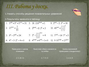 1.Указать способы решения показательных уравнений 2.Результаты занесите в таб