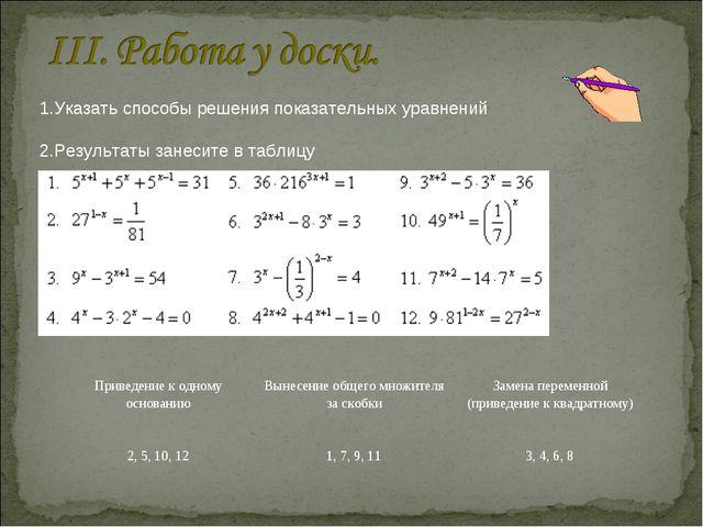 1.Указать способы решения показательных уравнений 2.Результаты занесите в таб...