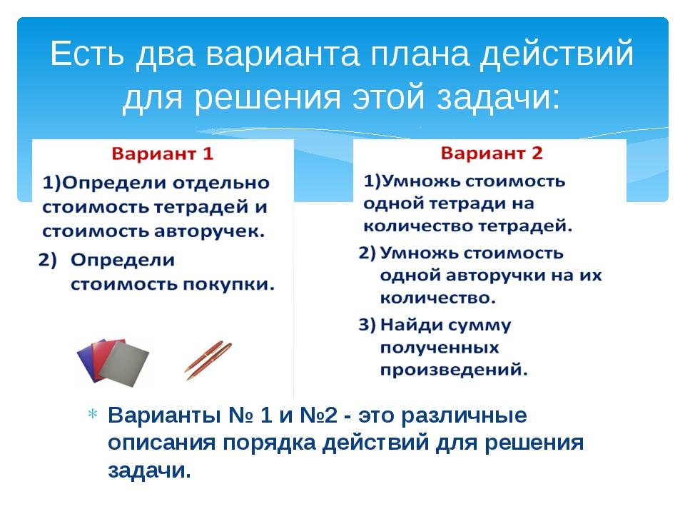 Подумай, чем отличаются два варианта плана действий? Вариант № 1 содержит нек...