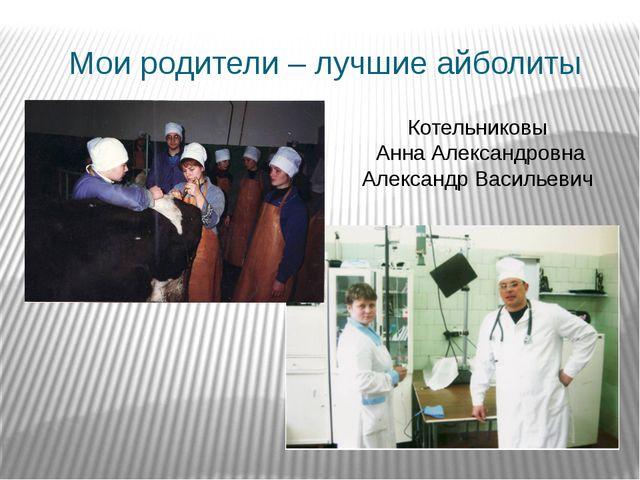 Мои родители – лучшие айболиты Котельниковы Анна Александровна Александр Васи...