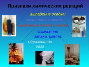 Признаки химических реакций выпадение осадка; растворение осадка; выделение