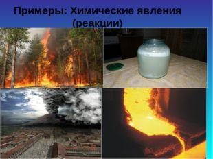 Примеры: Химические явления (реакции)