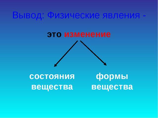 Вывод: Физические явления - это изменение состояния вещества формы вещества