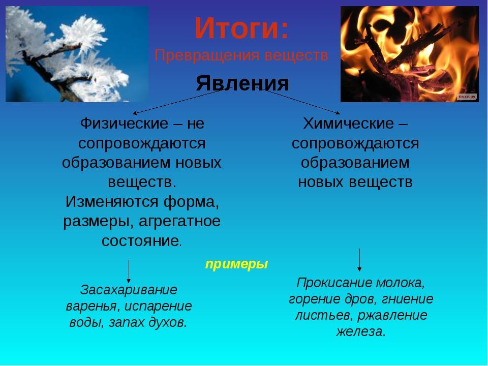 Явления Физические – не сопровождаются образованием новых веществ. Изменяются...