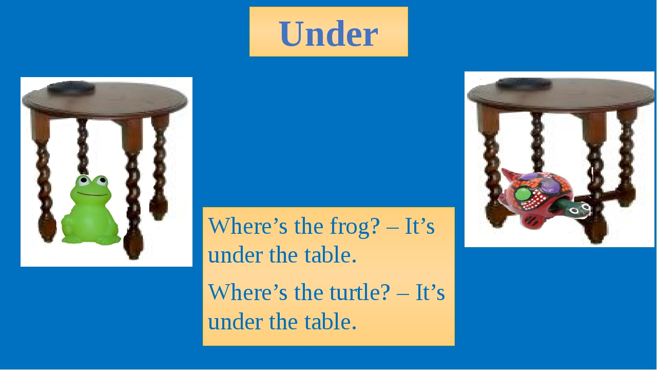 Under Where's the frog? – It's under the table. Where's the turtle? – It's un...