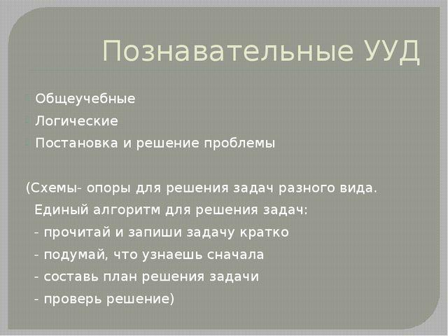 Познавательные УУД Общеучебные Логические Постановка и решение проблемы (Схем...