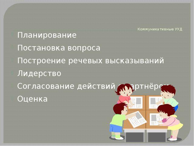 Коммуникативные УУД Планирование Постановка вопроса Построение речевых выска...