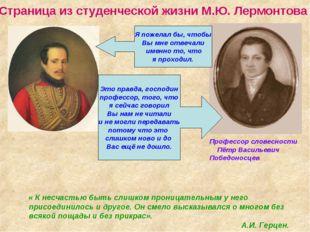 Страница из студенческой жизни М.Ю. Лермонтова Профессор словесности Пётр Ва