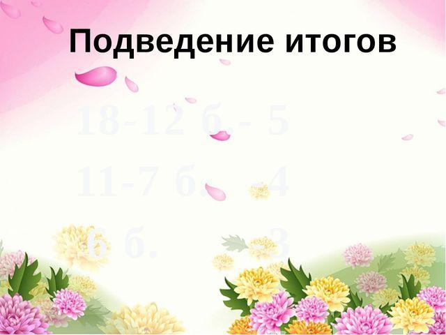 18-12 б.- 5 11-7 б. -4 6 б. -3 Подведение итогов