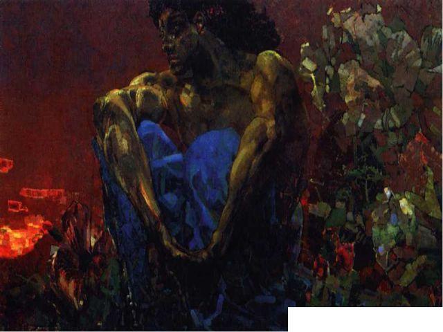 ВРУБЕЛЬ Михаил Александрович Демон сидящий. 1890. Масло