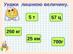 Укажи лишнюю величину. 57 ц 5 т 250 кг 25 км 700г