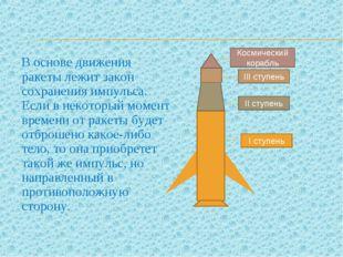 В основе движения ракеты лежит закон сохранения импульса. Если в некоторый м