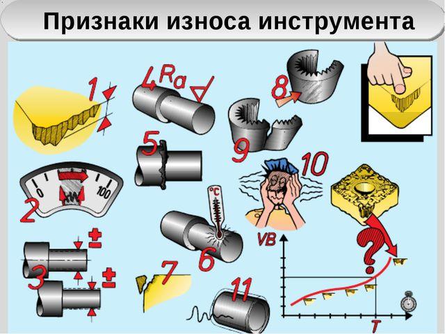 Признаки износа инструмента