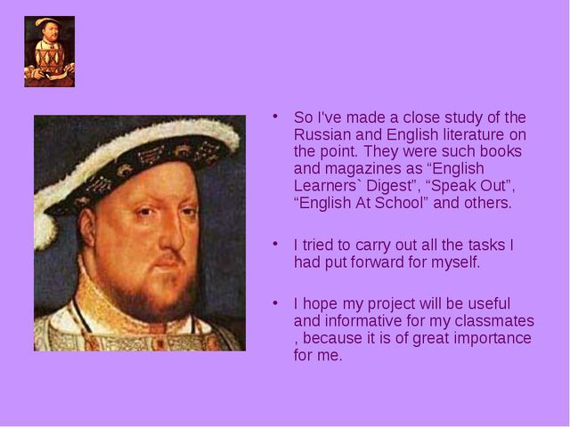 So I've made a close study of the Russian and English literature on the point...