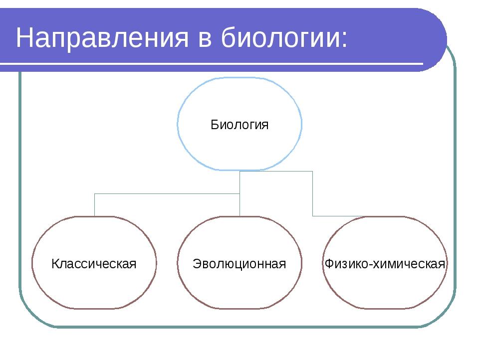 Направления в биологии: