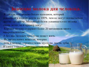 Значение молока для человека. Я узнала, что молоко богато кальцием, который
