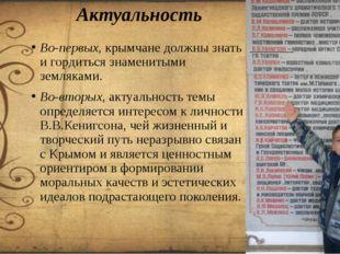 Актуальность Во-первых, крымчане должны знать и гордиться знаменитыми земляка