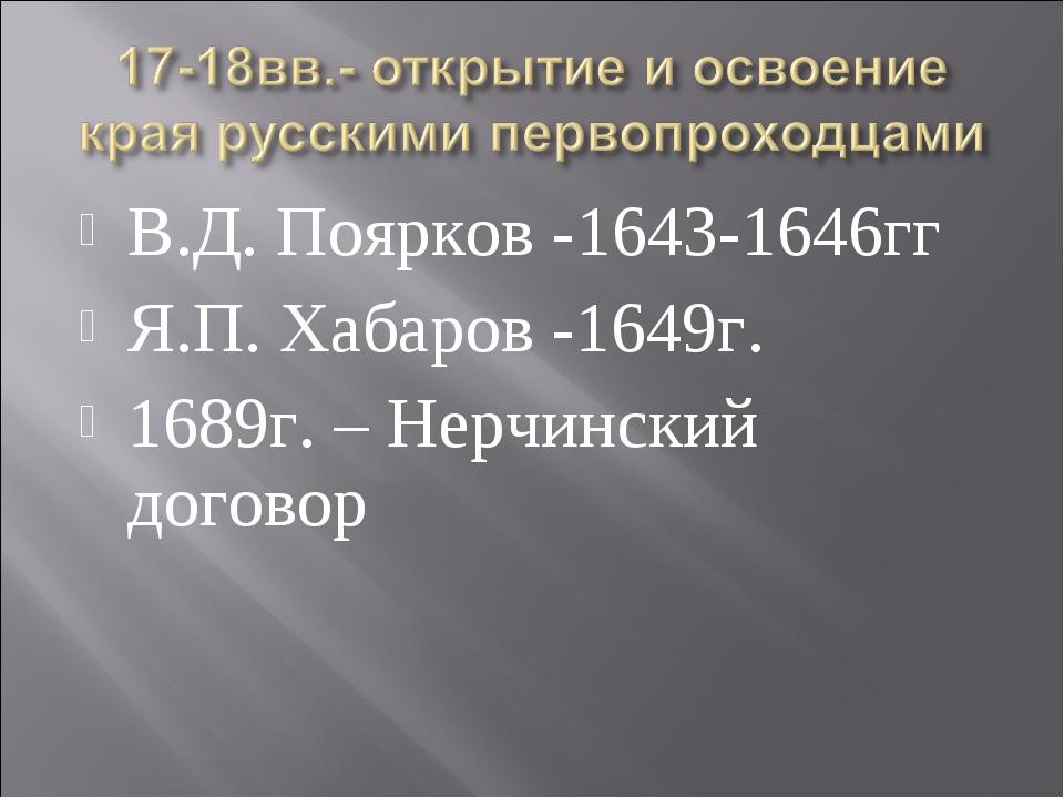 В.Д. Поярков -1643-1646гг Я.П. Хабаров -1649г. 1689г. – Нерчинский договор