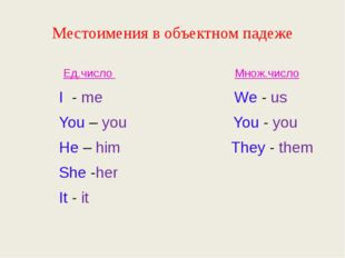 Местоимения в объектном падеже Ед.число Множ.число I - me We - us You – you Y