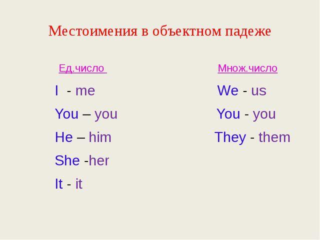 Местоимения в объектном падеже Ед.число Множ.число I - me We - us You – you Y...