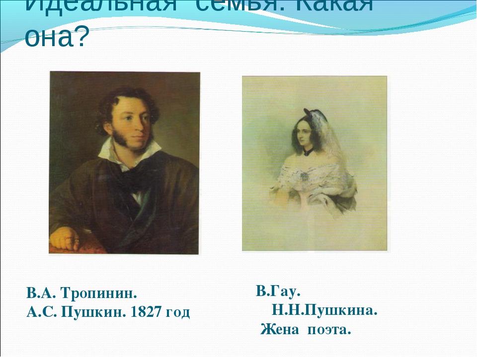Идеальная семья. Какая она? В.А. Тропинин. А.С. Пушкин. 1827 год В.Гау. Н.Н.П...