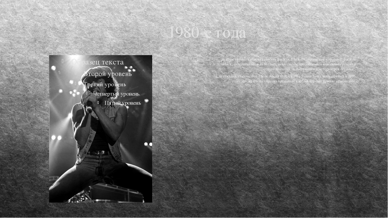 1980-е года Вскоре группа написала альбом Back in Black (Возвращение в трауре...
