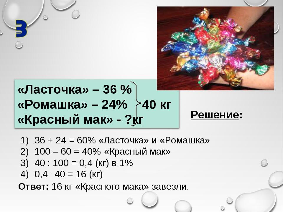 40 кг Решение: 36 + 24 = 60% «Ласточка» и «Ромашка» 100 – 60 = 40% «Красный м...