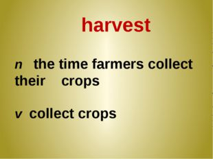 harvest n the time farmers collect their crops v collect crops