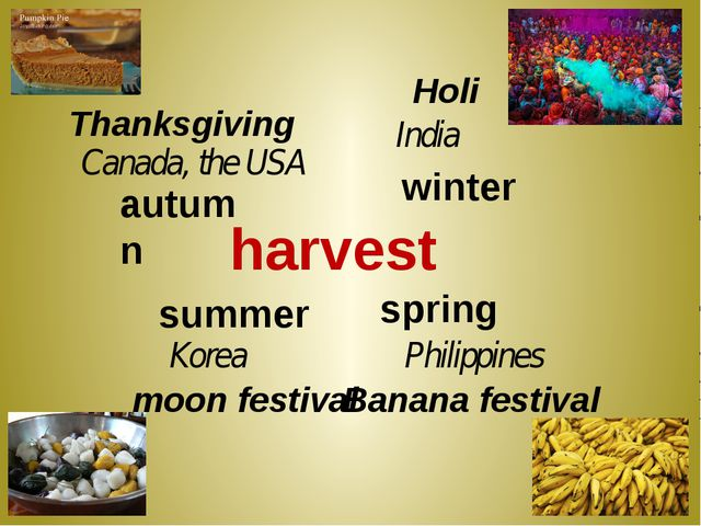 harvest autumn Thanksgiving Canada, the USA winter Holi India Philippines spr...