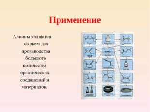 Применение Алкины являются сырьем для производства большого количества органи