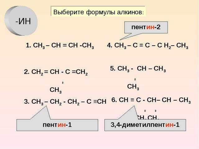 1. СН3 – СН = СН -СН3 2. СН2 = СН - С =СН2 ∣ СН3 3. СН3 – СН2 - СН2 – С ≡СН 4...
