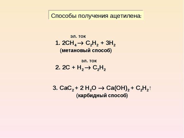 Способы получения ацетилена: эл. ток 1. 2СН4  С2Н2 + 3Н2 (метановый способ)...