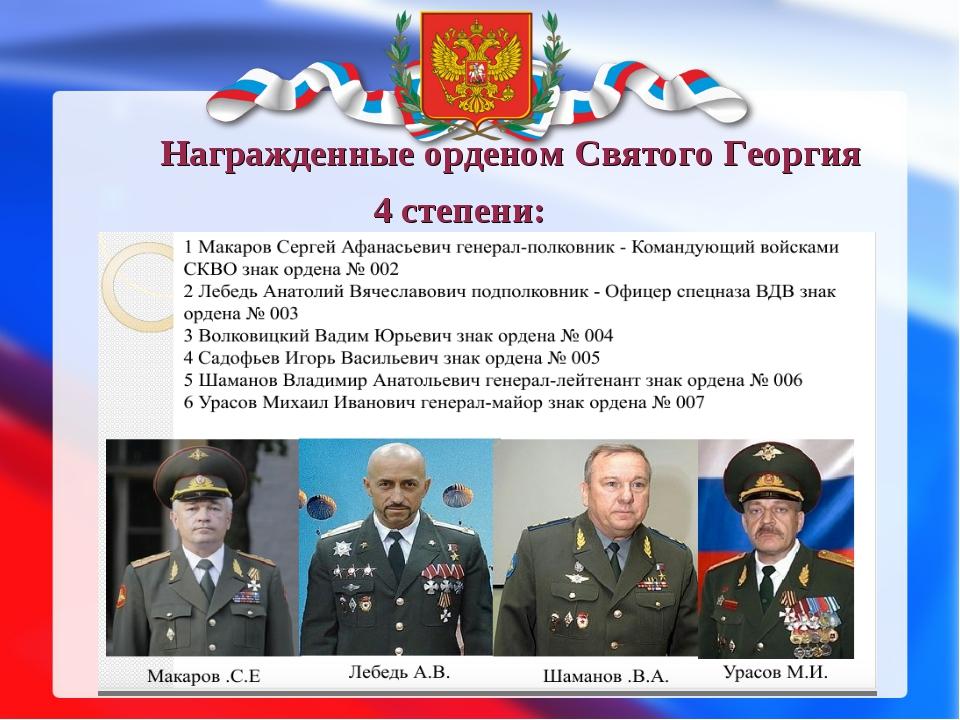 Награжденные орденом Святого Георгия 4 степени: