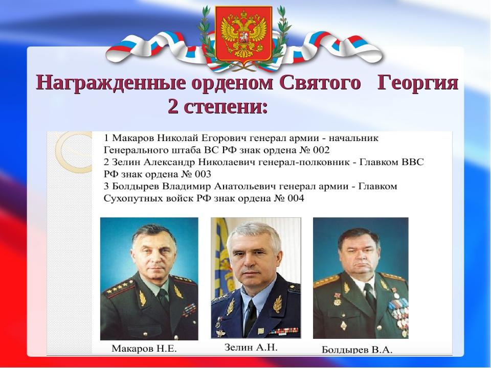 Награжденные орденом Святого Георгия 2 степени: