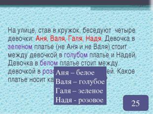 Конкурс На улице, став в кружок, беседуют четыре девочки: Аня, Валя, Галя, На
