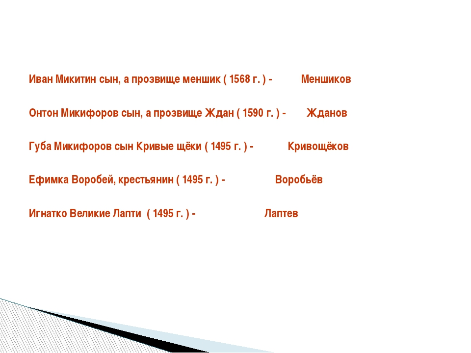 Иван Микитин сын, а прозвище меншик ( 1568 г. ) -           Меншиков Иван Ми...