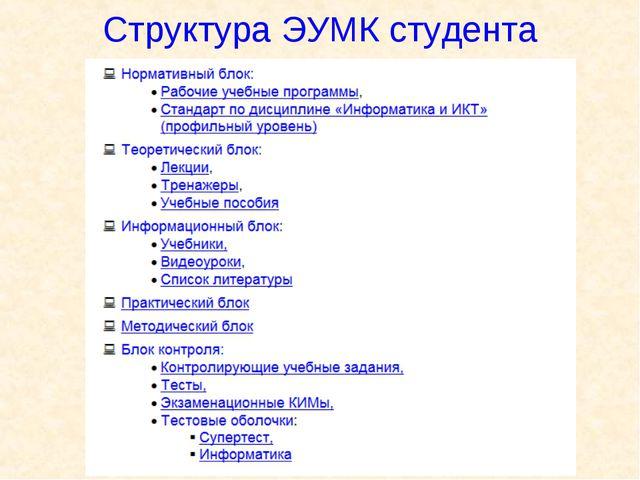 Структура ЭУМК студента