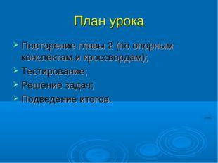 План урока Повторение главы 2 (по опорным конспектам и кроссвордам); Тестиров