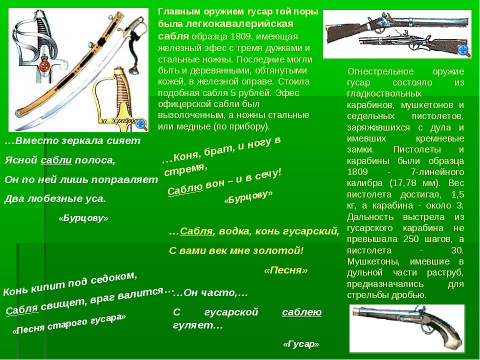Главным оружием гусар той поры была легкокавалерийская сабля образца 1809, им...