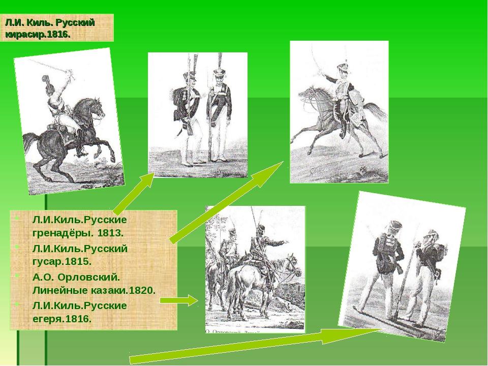 Л.И. Киль. Русский кирасир.1816. Л.И.Киль.Русские гренадёры. 1813. Л.И.Киль.Р...