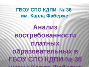ГБОУ СПО КДПИ № 36 им. Карла Фаберже Анализ востребованности платных образова