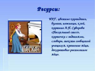 Ресурсы: ИКТ , цветные карандаши, бумага, ножницы, клей, картина А.П. Суворов
