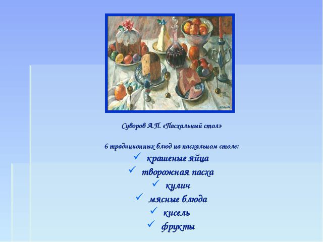 Суворов А.П. «Пасхальный стол» 6 традиционных блюд на пасхальном столе: краше...